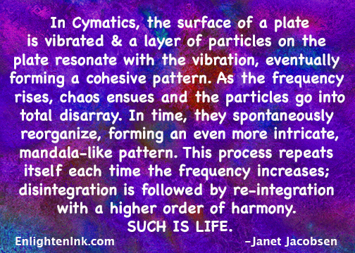 In Cymatics, the surface of a plate is vibrated and a layer of particles on the plate resonate with the vibration, eventually forming a cohesive pattern. As the frequency increases, chaos ensues and the particles go into disarray. In time, they spontaniously reorganize, forming an even more intricate, mandala-like pattern. This process repeats itself each time the frequency increases, disintegration is followed by re-integration, with a higher order of harmony. SUCH IS LIFE.