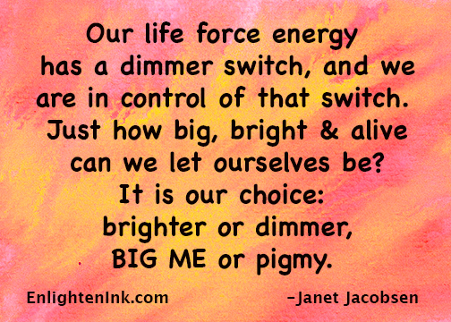 Our life force energy has a dimmer switch, and we are in control of that switch. Just how big, bright and alive can we let ourselves be? It is our choice: brighter or dimmer, BIG ME or pigmy