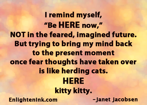"""I remind myself, """"Be HERE now,"""" NOT in the feared, imagined future. But trying to bring my mind back to the present moment once fear thoughts have taken over is like herding cats. HERE kitty kitty."""