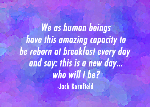 """""""We as human beings have this amazing capacity to be reborn at breakfast every day and say: this is a new day...who will I be?"""" -Jack Kornfield"""