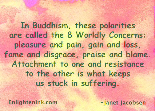 In Buddhism, these polarities are called the 8 Worldly Concerns: pleasure and pain, gain and loss, fame and disgrace, praise and blame. Attachment to one and resistance to the other is what keeps us stuck in suffering.