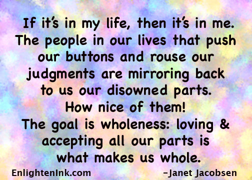 If it's in my life, then it's in me. The people in our lives that push our buttons and rouse our judgments are mirroring back to us our disowned parts. How nice of them! The goal is wholeness: loving and accepting all our parts is what makes us whole.